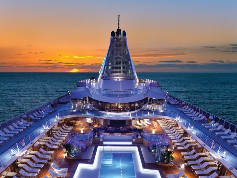 Night view of the pool deck on-board Oceania Cruises