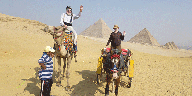 Camel ride, pyramids, Egypt