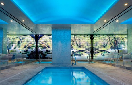 The Chatwal, New York indoor pool, illuminated in blue